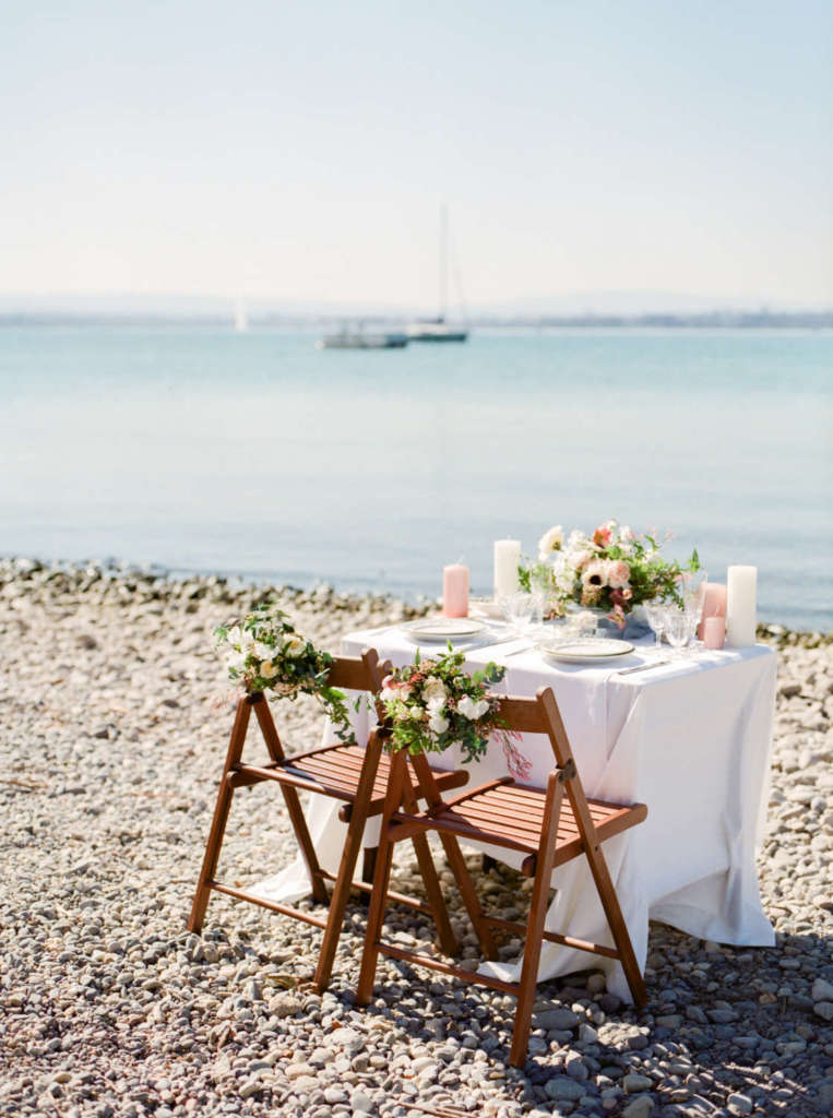 Wedding table on the shores of lake leman