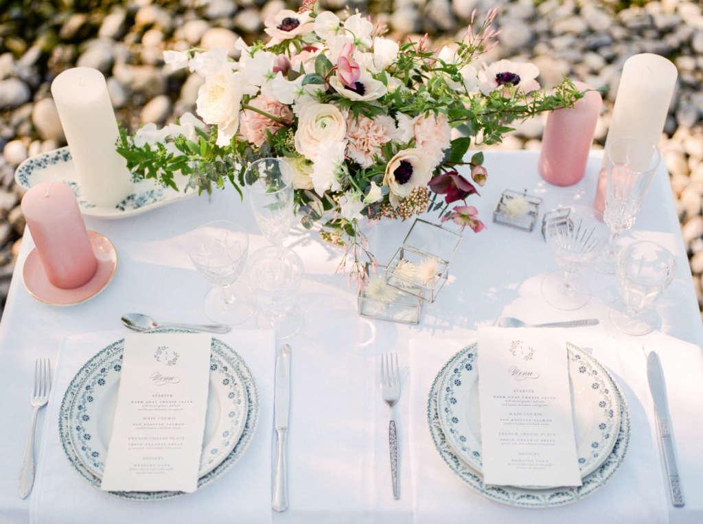 Table des mariés au bord du lac Léman