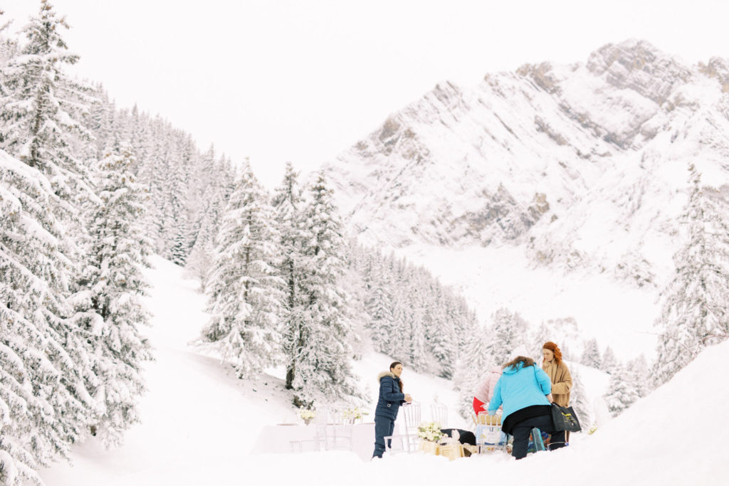 winter wedding in moutains