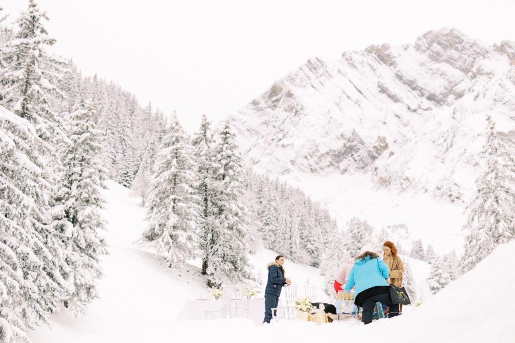 mariage sous la neige, mariage à la montagne
