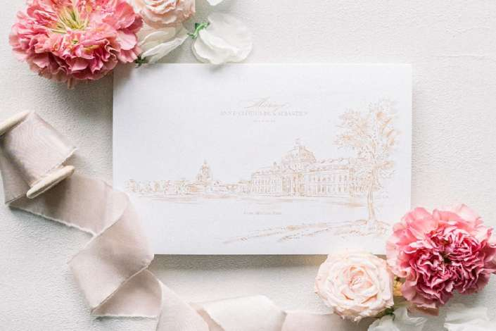 Papeterie de mariage luxe avec fleurs œillets roses